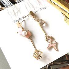 E1096 Betsey Johnson Pink Dancing Deer Baby Pearl Diamond Box Chain Earrings  US