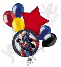7 pc Superman Cartoon Balloon Bouquet Party Decoration Hero Happy Birthday Clark