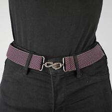 Burgundy Navy Elastic Belt Basket Weave Womens Elasticated Snake Belt Unisex UK
