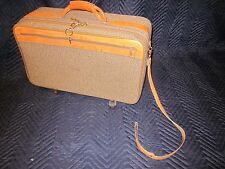 HARTMANN LUGGAGE Tweed Carry-On Case Leather Trim w/ Pull Strap ~ VINTAGE EXC