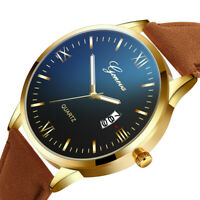 Luxury Mens Leather Watch Quartz Stainless Steel Dial Fashion Casual Wrist Watch