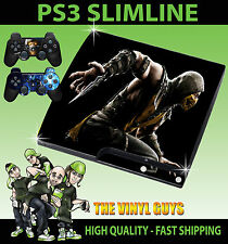 PLAYSTATION PS3 SLIM Adesivo MORTAL KOMBAT x SCORPION SKIN e 2 SKIN PER PAD