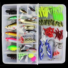 101 pcs Trout Bass Fishing Lures Crankbaits Set Kit Soft and Hard Lure Hooks Box