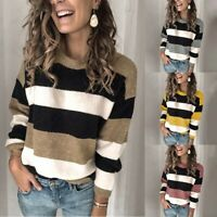 Women's Contrast Stripes Sweater Tops Ladies Casual Long Sleeve T-Shirt Top Tee