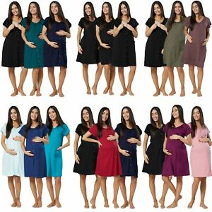 Happy Mama Women's Maternity Labour Delivery Gown 3 – Pack 1556