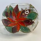 Poinsettia Painted Glass Ball