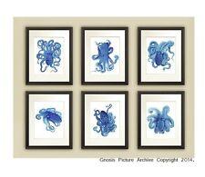 Blue Octopus Prints set of 6 Unframed Blue Beach Decor Bathroom Wall Art