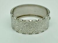 """Antique Victorian Sterling Silver Bk&Ft Engraved Bangle Hinged Bracelet 6.25"""""""
