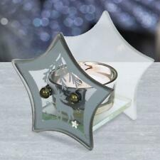 Christmas Star Navy Blue Glass Single Tea Light Candle Holder