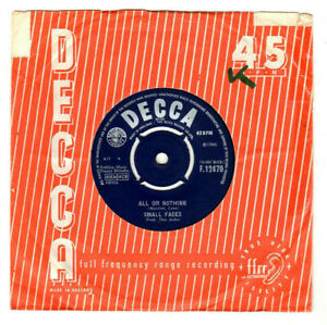 """SMALL FACES - ALL OR NOTHING / UNDERSTANDING.UK ORIG 1966 7"""" & CO/SL.VG"""