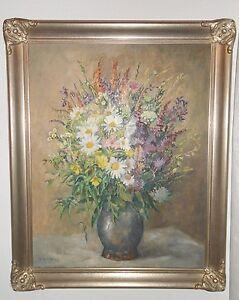 Ölbild 1964 Heinrich Bühler Maler Karlsruhe Gemälde Blumenstrauß mit Rahmen