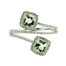 14K WHITE GOLD PAVE DIAMOND GREEN AMETHYST COCKTAIL BYPASS RIGHT HAND HALO RING