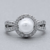 Elegant Wedding Rings for Women 925 Silver Round Cut White Pearl Ring Size 6-10