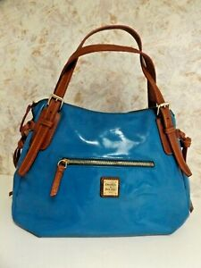 Dooney & Bourke Purse/Bag With Strap, Blue Patent Leather