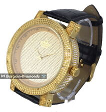mens diamond giant 60 mm gold clubbing ice out watch leather dlx Gift Box Maxx
