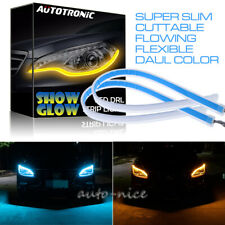 LED Car Flexible DRL Daytime Running Strip Light Super Slim Lamp ICE BLUE Amber
