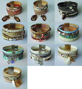Damen Armband-mit-Strassnieten-Perlen-Magnetverschluss-Armband-Damen