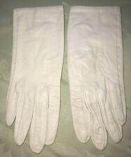 Vintage Sacha Saks Fifth Avenue Paris White Leather Silk Lining Gloves
