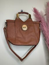 MK Brown Faux Leather Medium  Zip Tote Bag Strap Gold Logo Top Handle