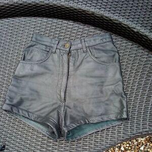 Vintage 1980's  Black Leather Shorts UK 6/8