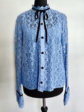 TEMPERLEY LONDON 'Eclipse' Lace Shirt in Iris w/ Black Velvet Neck Tie (UK 8)