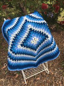Handmade Crochet Baby/Toddler Blanket/Throw. Car/Cot/ Basinet.