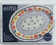NIB Gibson Elite Luxembourg 1 Piece Stoneware Serving Platter Blue White Floral