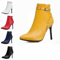 Lady Rivet Buckle Strap Stiletto High Heel Ankle Boots Pointy Toe Shoes 44/50 D