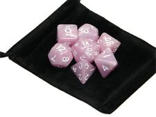 New 7 Piece Polyhedral Pearlescent Cotton Candy Pink Dice Set With Bag D&D RPG