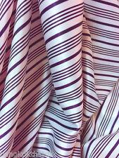 """Stripe Ivory Purple Print Faux Silk Satin Fabric 48""""W BTY Dress Drape Scarfs"""