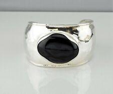 Silpada Sterling Silver & Etched Black Onyx Chalcedony Wide Cuff Bracelet B2043