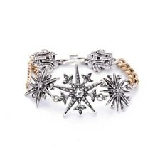 Winter inspired vintage silver gold white crystal snow flake statement bracelet
