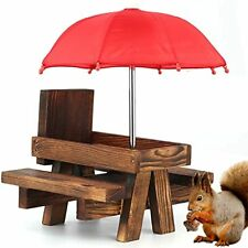 New listing Squirrel Picnic Table Feeder With Umbrella   Cute Hanging Mini Picnic Table For
