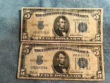 1934-A two $5 Silver Certificate Notes - Blue Seal - VG