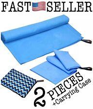 2Pc Quick Dry Antibacterial Microfiber Camping Travel Beach Towel & Mat Bundle