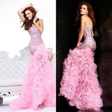 Pink Beading Strapless Hi-Lo Ruffly Prom Dresses Evening Party Dress Custom Made