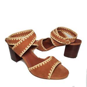 Tory Burch women Sandals Arianne 65mm tan Suede Block heel US 8 new