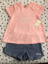 NWT Girls Lucky Brand 2 Pieces Set Pink Lace Top Denim Ruffle Short 6X