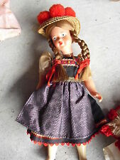"""Vintage 1950s Plastic Ethnic Girl Character Doll 9"""" Tall"""