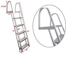 Pactrade Marine Pontoon Boat 5 Step Dock Ladder Aluminum Removable Boarding