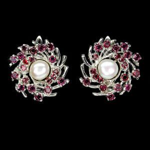 Unheated Round Rhodolite Garnet 2.5mm Pearl 925 Sterling Silver Earrings