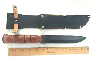 """Marine Style Made in Japan Leather Handle 7"""" Blade Knife"""