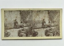 Two Women in a Course Garden Photography Stereo Vintage Albumin c1870