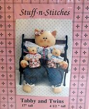 """Craft Pattern by Stuff n Stitches Tabby Cat & Twins baby kittens 17"""""""