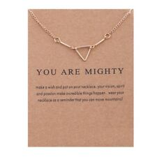Gold You are mighty Necklace Triangle Bit Necklace With Card great gift idea