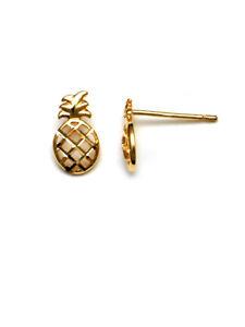 14K Yellow Gold Pineapple Stud Earring.
