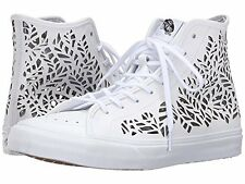 NEW VANS SK8 HI DECON CUT OUT LEAVES WHITE SHOES MENS 6 WOMENS 7.5 NIB LEATHER