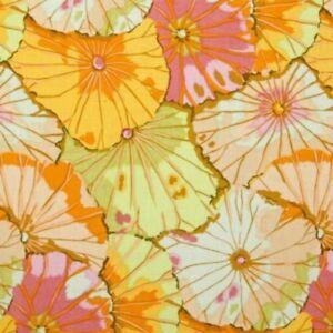 "34"" Remnant Free Spirit Kaffe Fassett Lotus Leaf GP29.Jade Floral Cotton Fabric"