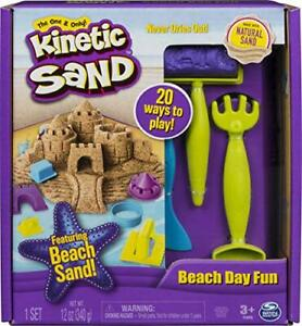 Kinetic Sand Beach Day Fun Playset w/ Castle Molds Tools 12 oz. Sand Age 3 & up