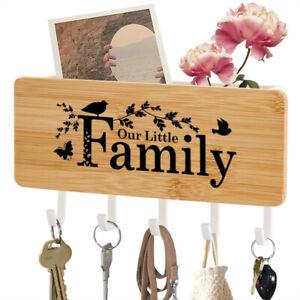 Five Wall Mount Hook Wood Keys Holder Rack Storage Hanger Organizer Home Decor